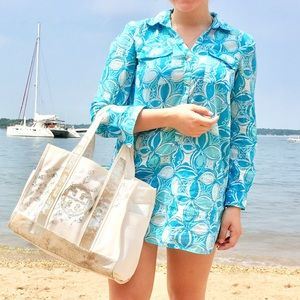 Lilly Pulitzer blue floral swim popover coverup